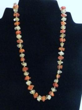 Necklase with carnelian and rock crystal